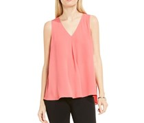 Vince Camuto V-Neck Mix Media Textured Top, Rossetto