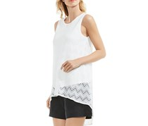 Vince Camuto Herringbone Lace High/Low Top, White