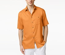 Campia Moda Men's Crepe Contrast-Button Shirt, Orange