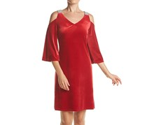 MSK Embellished Velvet Cold-Shoulder, Red