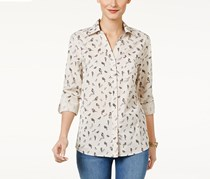 Petite Cotton Bird-Print Shirt, Free Bird
