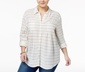 Style & Co Plus Size Mixed-Print Shirt, Oasis Dream