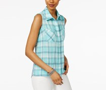 Style & Co Petite Printed-Back Plaid Shirt, Tropic Plaid Aqua