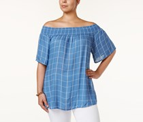 Style & Co Plus Size Off-The-Shoulder Checked Top,, Poolside Chalk Blue