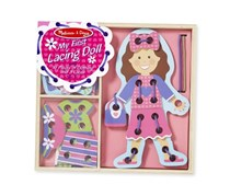 Melissa & Doug My First Lacing Doll With 16 Pieces of Clothing and 3 Laces, Pink/Purple