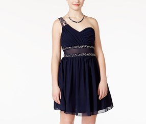 City Studios Juniors Embellished Illusion Dress, Navy