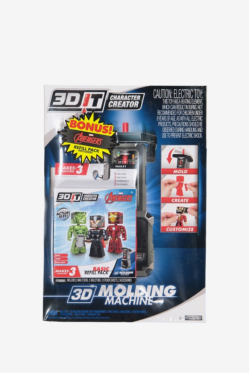 3D IT Character Creator Molding Machine With Free Avengers Refill Pack, Blue