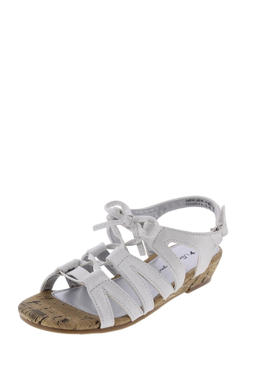 Girls Katie Slingback Sandals, White/Silver