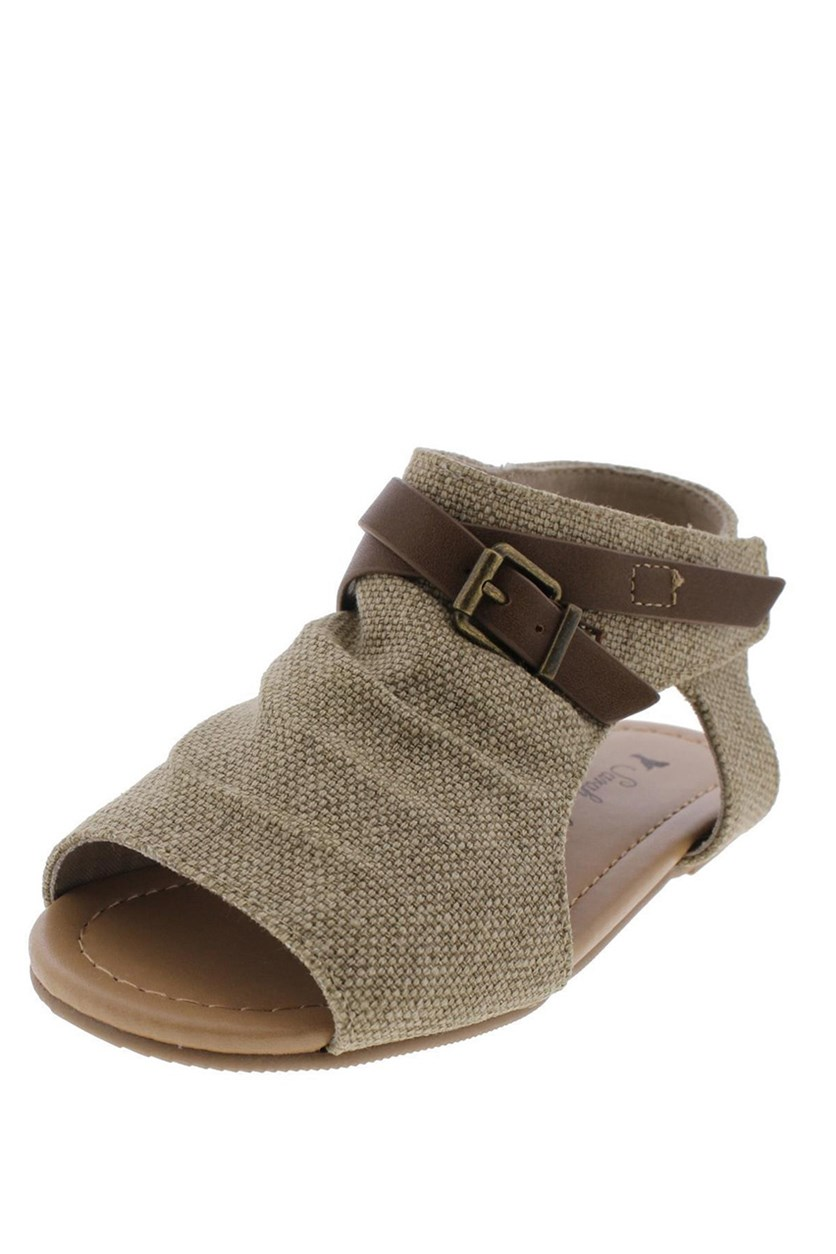 Girls Rancher  Flat Sandals, Taupe