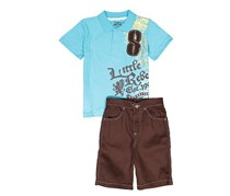 Little Rebels Baby Boy's Graphic Shirt And Woven Short Set, Teal/Brown