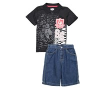Little Rebels Baby Boy's Graphic Shirt And Woven Short Set, Black/Navy