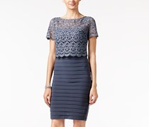 Betsy & Adam Banded Lace-Popover Sheath Dress, Steel