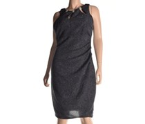 Betsy & Adam Keyhole Metallic Ruched Dress, Steel