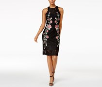 Betsy & Adam Embroidered Lace Dress, Black Combo