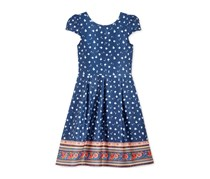 Crystal Doll Girls Floral-Print Scuba Dress, Navy