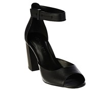 H by Halston Leather Block Heels Sandals, Black