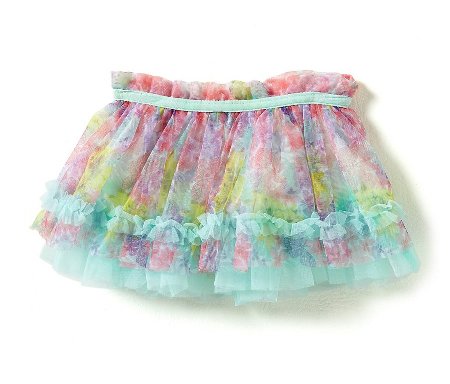 Baby Starters Mesh Floral-Print Tutu Skirt, Green/Turquoise