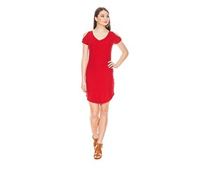 Planet Gold Juniors' Cold-Shoulder Bodycon Dress, Red