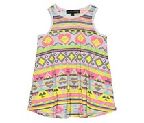 Derek Heart Girl's Allover Print Racer Tank Top, Grey/Yellow/Pink