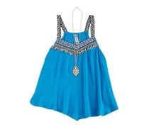 Beautees Embroidered Tank Big Girl Top, Turquoise