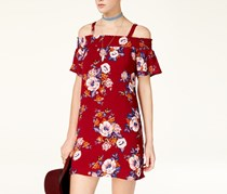 As U Wish Juniors' Printed Cold-Shoulder Shift Dress, Burgundy