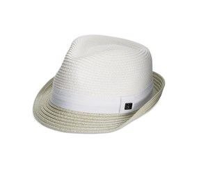 Sean John Men's Braided Straw Core Fedora, White