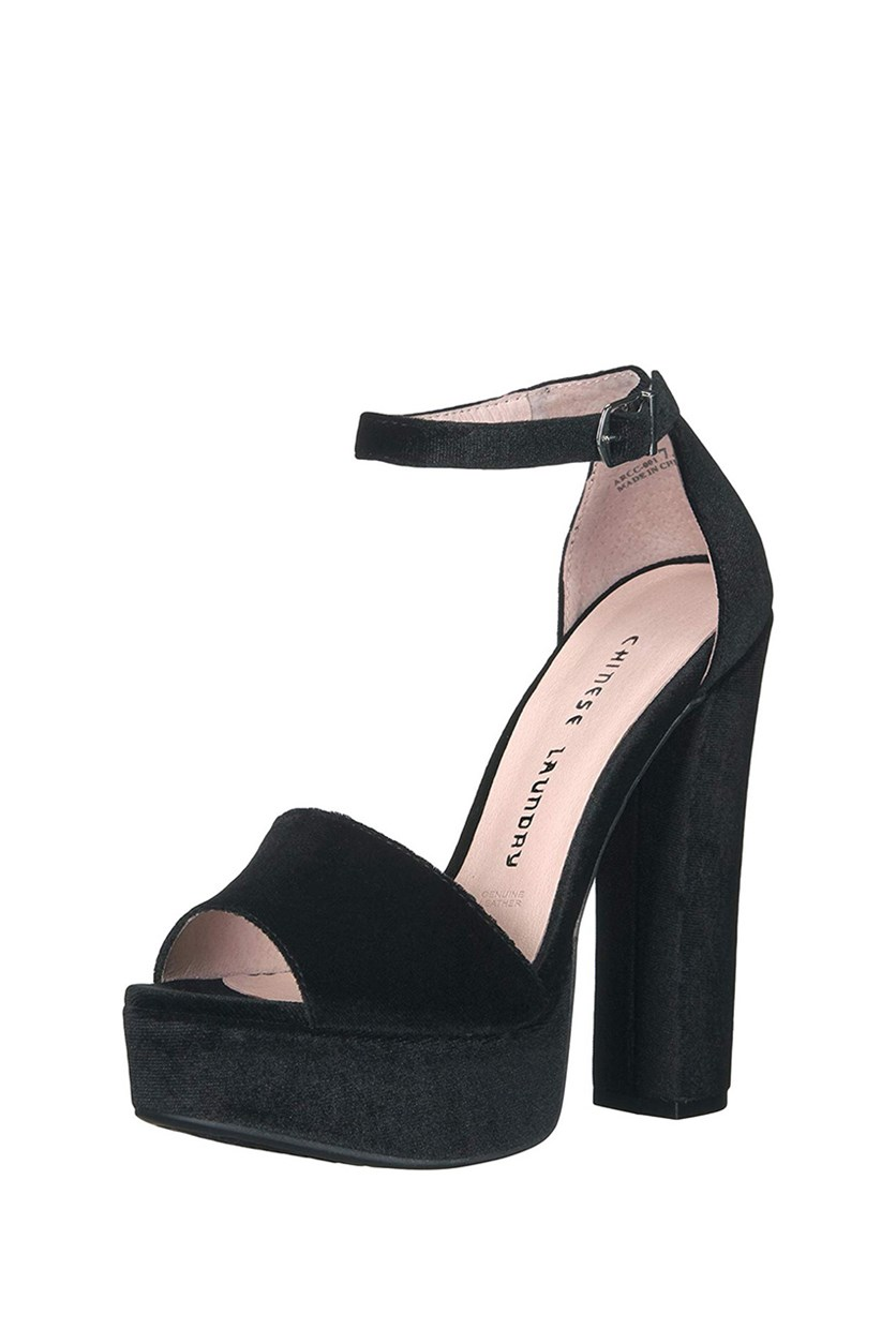 Women's Ace Platform Dress Sandal, Rich Velvet Black