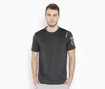 Reebok Mens Synthetic Round Neck T Shirt, Charcoal
