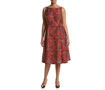 Adrianna Papell Plus Size Jacquard Dress, Black/Crimson