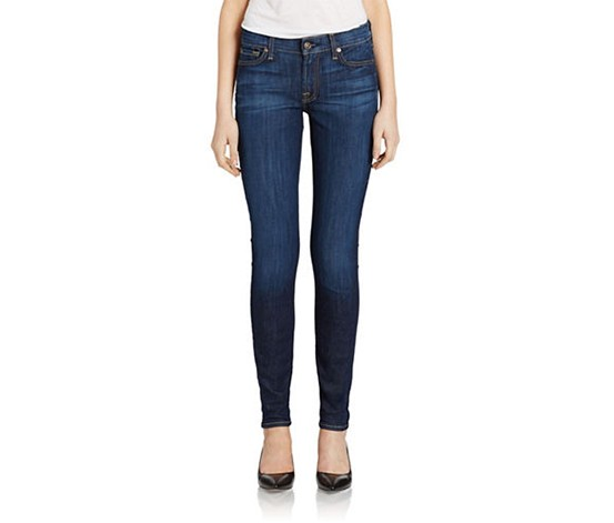 7 For All Mankind Skinny Medium Wash Jeans, Navy