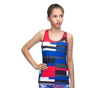 Adidas Kids Girls Tech Fit Tank Top, Ray Red/Blue/White
