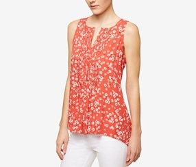 Sanctuary Palma Printed High-Low Shell, Red