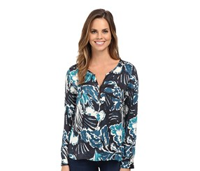 Sanctuary Printed Peasant Blouse, Navy Blue/Teal