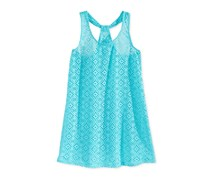 Breaking Waves Girls' Crochet Cover-Up, Turquoise