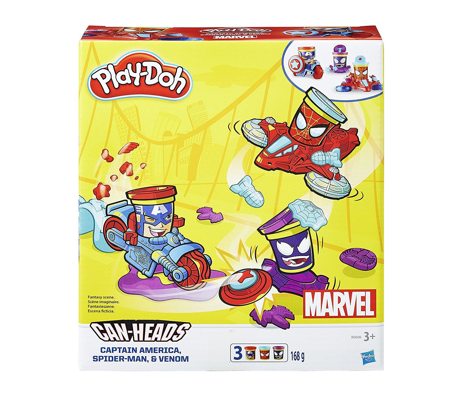 Play-Doh B0606 Marvel Can Heads Vehicle Toy, Red/Blue