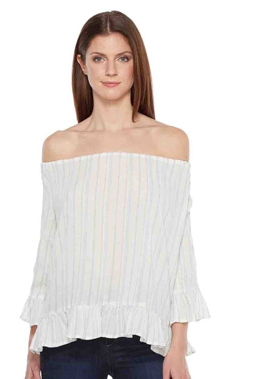 Julia Off-The-Shoulder Top, Loom Stripe