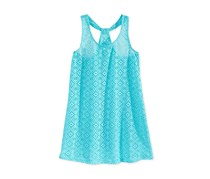 Breaking Waves Girls Crochet Cover-Up, Turquoise