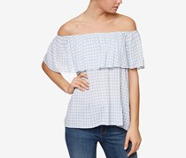 Sanctuary Misha Off-The-Shoulder Flounce Top, Sunbleached Blue