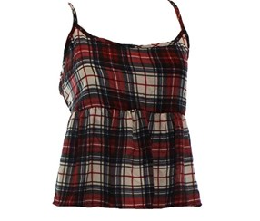 Ivory Plaid Spaghetti-Strap Women's Junior Tank Cami