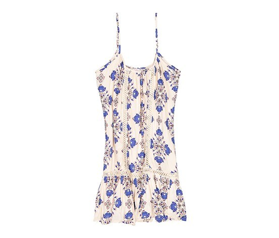 Paisley Print Dress, Beige/Blue Brint