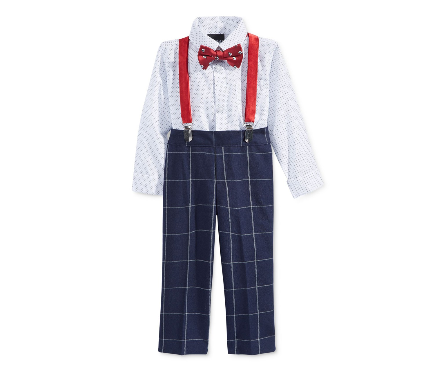 TFW Little Boy's 3 Pcs  Bow Tie Suspenders Shirt, Navy Multi