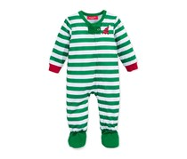 Family Pajamas Unisex Baby Elf Footed Stripe, Green Multi