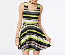Derek Heart Juniors Hazel Striped Fit Flare Dress, Black