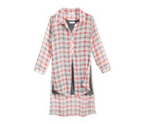 Bonnie Jean Plaid Big Girls Shirtdress, Coral/Green Combo