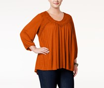 Eyeshadow Trendy Plus Size Embroidered Top, Clove