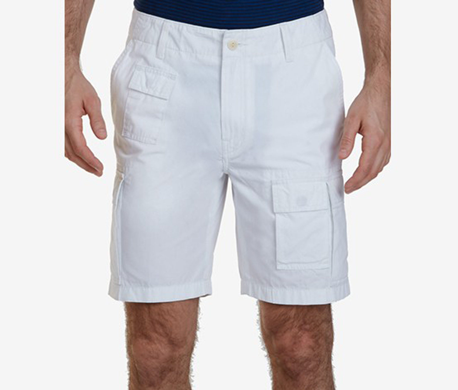 Nautica Mens Navigator Cotton Cargo Shorts, Bright White