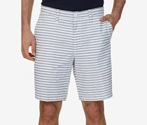 Nautica Men's Classic-Fit Striped Cotton Shorts, Bright White