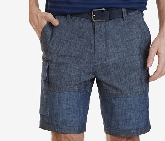 Mens Chambray Cotton Cargo Short, Navy/Marine Chambray