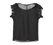 19 Cooper Fringe Sleeveless Solid Chiffon Woven Top, Black