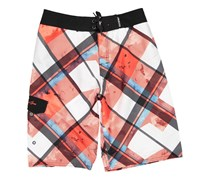 Maui and Sons Boy's Honcho Plaid Board Shorts, Red
